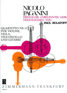 Zimmermann Paganini, Niccolo: Quartet No.11 in A Major  (violin, viola, cello, guitar)