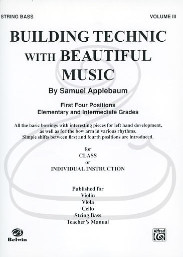 Alfred Music Applebaum: Building Technic with Beautiful Music, Vol.3 (bass) Belwin Mills Publishing