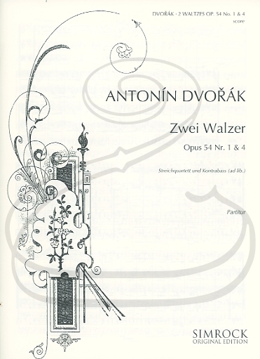 HAL LEONARD Dvorak: (score/parts) 2 Waltzes Nos.1 & 4, Op.54 (string quartet w/ bass (ad lib.)) Simrock