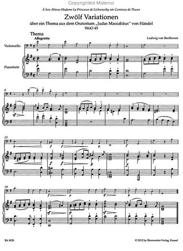 Barenreiter Beethoven (Del Mar): Variations for Cello & Piano, WoO45, Op.66, WoO46 - URTEXT (cello & piano) Barenreiter