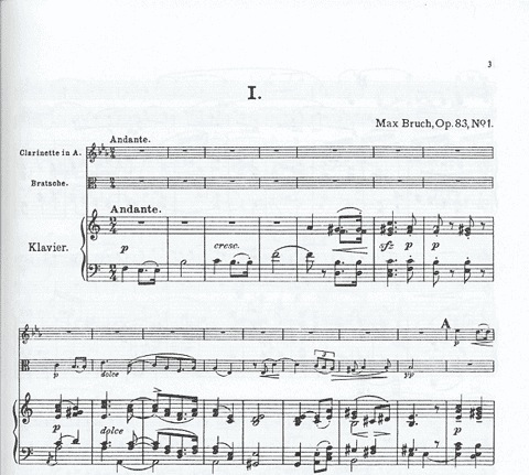 LudwigMasters Bruch, Max: Eight Pieces Op.83 V.1 (clarinet, viola, piano) or (violin, cello, piano)