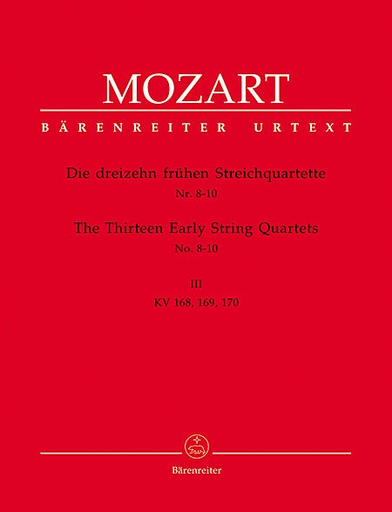 Barenreiter Mozart, W.A.: Thirteen Early String Quartets, Vol. 3, No. 8-10, Barenreiter Urtext