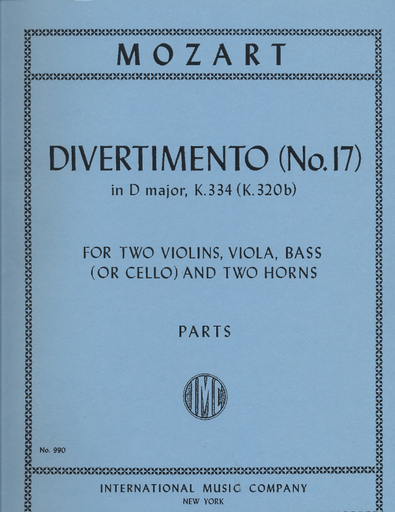 International Music Company Mozart, W.A.: Divertimento No.17 in D, K 334 (2 violins, viola, bass or cello, 2 horns)