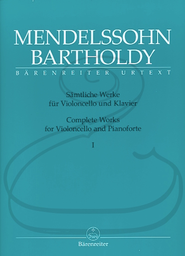 Barenreiter Mendelssohn (Todd): Complete Works, Vols.1 & 2 - URTEXT (cello & piano)