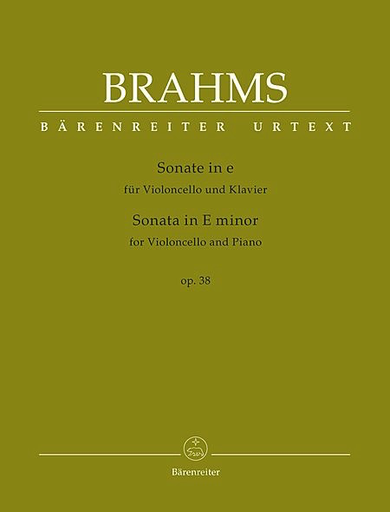 Barenreiter Brahms, Johannes (Brown): Sonata in E minor , Op. 38 (cello and piano) Barenreiter