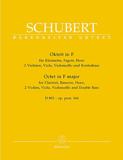 Barenreiter Schubert, F.: Octet Op.166-2 violins, viola, cello, bass, Clarinet, F horn, bassoon
