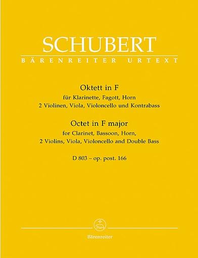 Barenreiter Schubert, F.: Octet Op.166-2 violins, viola, cello, bass, Clarinet, F horn, bassoon