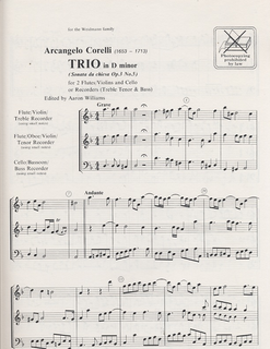 HAL LEONARD Corelli, A: Trio (2 Violins & Cello) score & parts