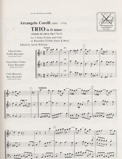 HAL LEONARD Corelli, A: Trio (2 Violins & Cello) score & parts