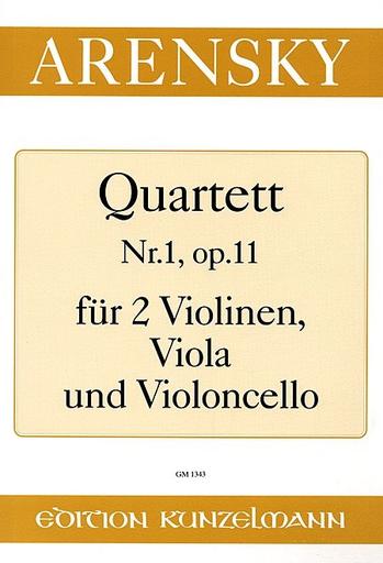 Arensky, Anton: String Quartet No. 1 Op.11 (2 violins, viola, cello) set of parts