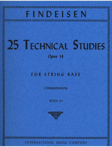 International Music Company Findeisen, T.A. (Zimmerman): 25 Technical Studies, Op.14 Volume 3 (bass)