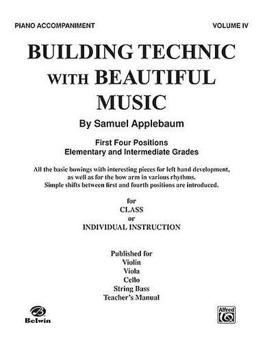 Alfred Music Applebaum, Samuel: Building Technic with Beautiful Music Bk.4 (piano accompaniment)