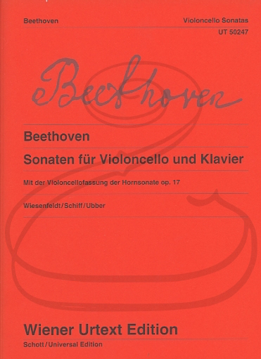 Carl Fischer Beethoven (Wiesenfeldt/Schiff/Ubber): Sonatas for Cello & Piano - URTEXT (cello & piano) Wiener Urtext Edition