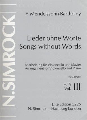 HAL LEONARD Mendelssohn, F.: Song Without Words Vol.3 (cello & piano)