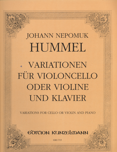 Hummel, J.N.: Variations for Cello or Violin and Piano
