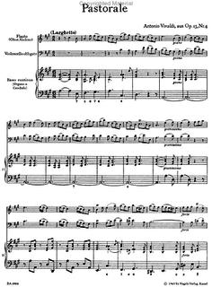 """Barenreiter Vivaldi, A.: Pastorale """"Il pastor fido"""" (violin or flute, Cello, Piano)"""