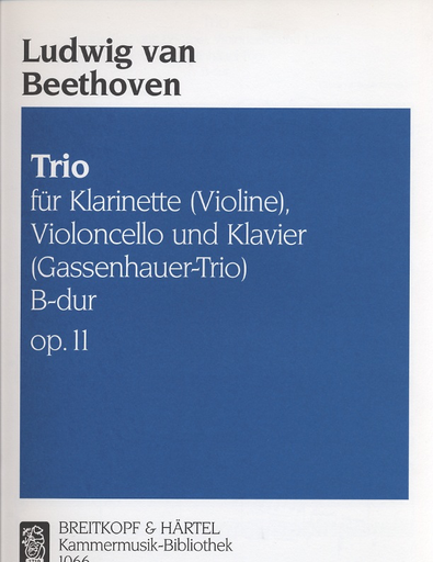 Beethoven, L.van: Piano Trio Op.11 (violin or clarinet, Cello, Piano)