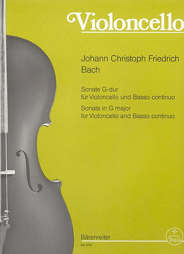 Barenreiter Bach, J.C.F.: Sonata for Cello in G major (cello & bass continuo)