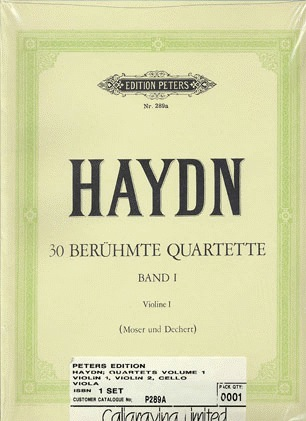 Haydn, F.J (Andreas).: 30 Famous String Quartets, Vol.1 (2 violins, viola, and cello)