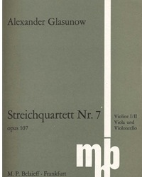 C.F. Peters Glazunov, A.: String Quartet No. 7 in C, Op. 107 (set of parts)