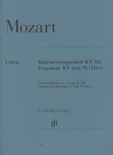 HAL LEONARD Mozart, W.A. (Wiese): Clarinet Quintet in A, K.581and Fragment K.Anh. 91 (516c), urtext (clarinet, 2 violins, viola, and cello)