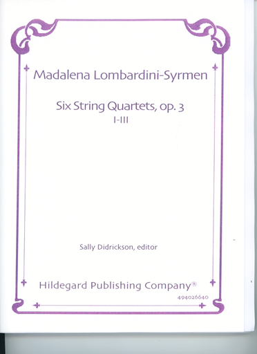 Carl Fischer Lombardini-Syrmen, Madalena: Six String Quartets, Op.3 No.1-3 (2 violins, viola, cello) score and parts
