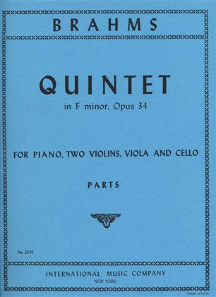 International Music Company Brahms, Johannes: Quintet in F minor Op.34 (2 violins, viola, cello, piano)