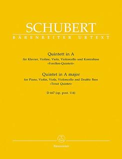 Barenreiter Schubert, F.: Trout Quintet in A Major Op.114 (piano, violin, viola, cello, bass) Barenreiter