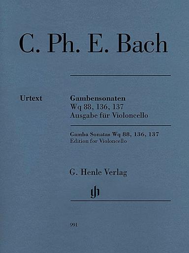 HAL LEONARD Bach, CPE (Enlin, ed.): Gamba Sonatas, Wq 88, 136, 137, urtext (cello & piano)