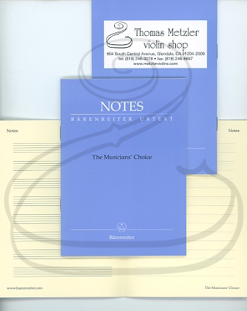 Barenreiter Musician's Choice - Small Manuscript Notebook, 4'' x 6'', 32 pages with Periwinkle Cover & Metzler Logo - Barenreiter