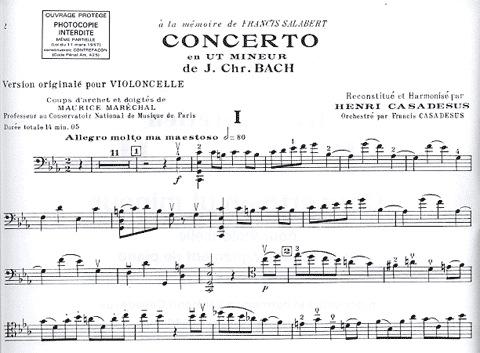 HAL LEONARD Bach, J.C. (Casadesus): Concerto in C Minor/Concerto en Ut Mineur (cello/violoncelle & piano)