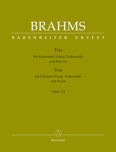 Barenreiter Brahms (Hogwood): Trio in A minor for Clarinet, Cello, & Piano, Op.114 - URTEXT (clarinet/viola, cello, & piano) Barenreiter
