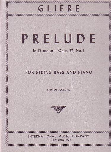 International Music Company Gliere, Reinhold (Zimmermann): Prelude Op.32#1 (bass & piano)