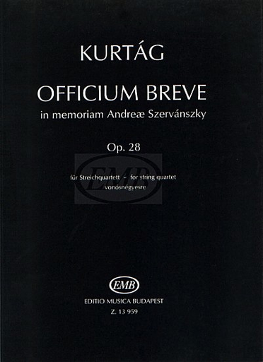 HAL LEONARD Kurtag, Gyorgy: Officium Brev Op.28 (string quartet)