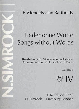 Carl Fischer Mendelssohn, F.: Song Without Words Vol.4 (cello & piano)