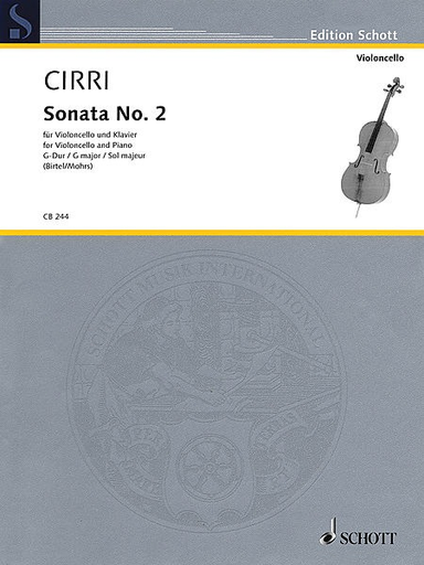 HAL LEONARD Cirri, G.B. (Birtel /Mohrs, ed.): Sonata No. 2 in G Major (cello and piano/basso continuo)