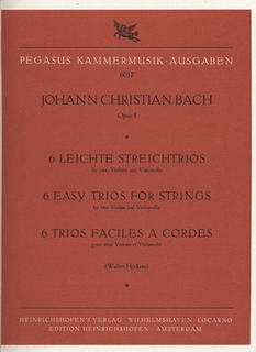PETERS Bach, J.C.: 6 Easy Trios for Strings Op.4 (2 violins & cello) Edition Pegasus