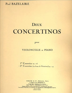 HAL LEONARD Bazelaire, P.: Second Concertino Op. 127, En Forme de Variations (cello & piano)