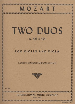 International Music Company Mozart, W.A.: Two Duets K423-424 (Violin & Viola) IMC