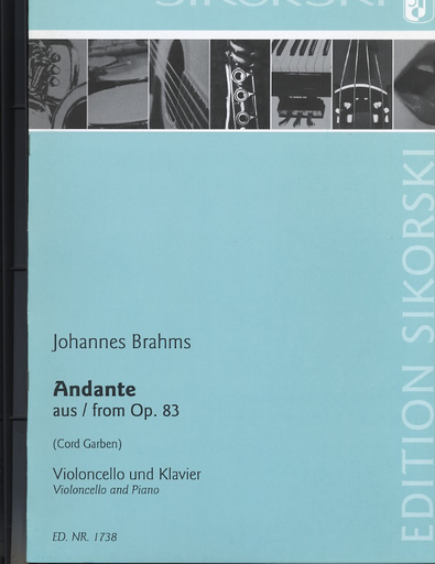 HAL LEONARD Brahms, J.: Andante from Op. 83 (cello & piano)