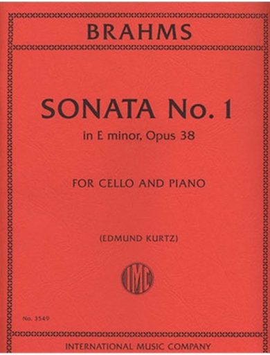 International Music Company Brahms, Johannes (Kurtz): Sonata #1 in E minor, Op.38 (cello & piano)