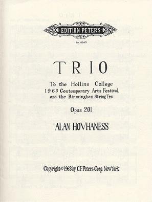 Hovhaness, Alan: Trio Op. 201 (violin, viola, cello)