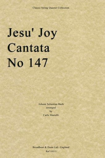 Bach, J.S. (Martelli): Jesu Joy of Man's Desiring (string quartet)