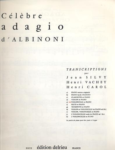 Edition Delrieu Albinoni, Tomaso Giovanni: Celebre Adagio (cello & piano)