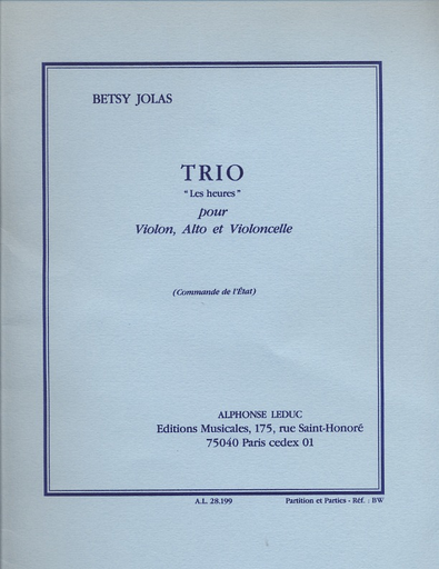 Jolas, Betsy: Trio L'Heures (violin, Viola & cello) score & parts
