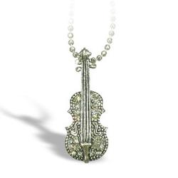 Lauren-Spencer Silver Crystal Violin Necklace