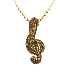 Lauren-Spencer Topaz Crystal Treble Clef Necklace