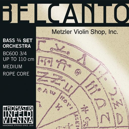 Thomastik-Infeld BELCANTO chrome-wound Bass string set, 3/4 orchestra, by Thomastik-Infeld