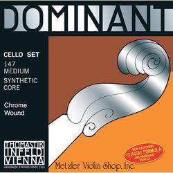 Thomastik-Infeld DOMINANT cello string set, chrome-wound A, D, G, & C, medium, by Thomastik-Infeld