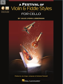 HAL LEONARD Lieberman: A Festival of Violin & Fiddle Styles for Cello (Book with Audio and Video Access)
